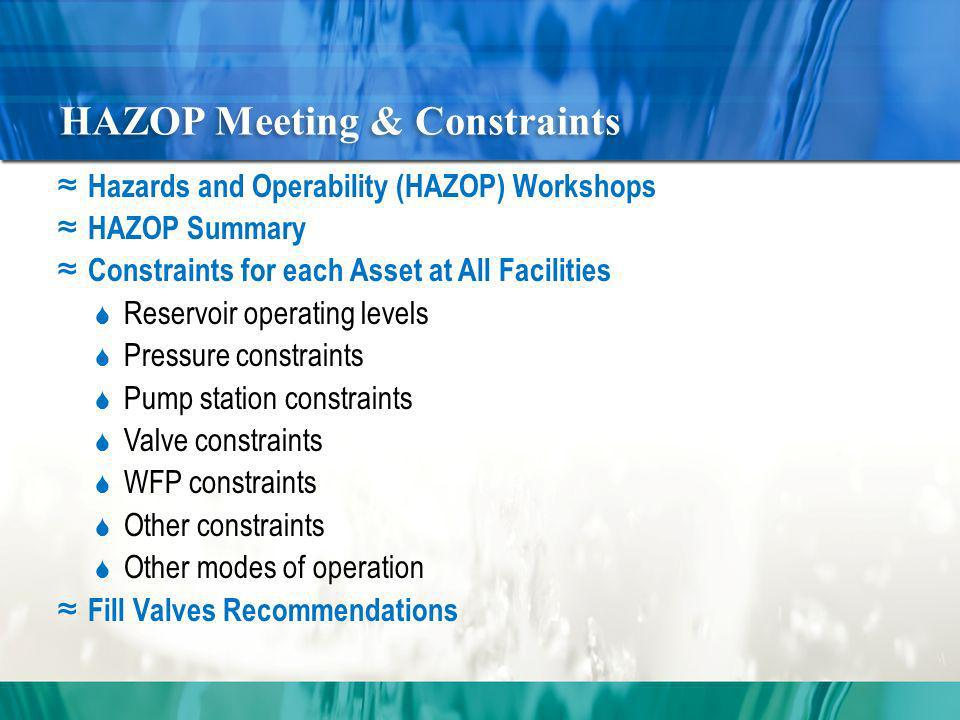 HAZOP Meeting & Constraints Hazards and Operability (HAZOP) Workshops HAZOP Summary Constraints for each Asset at All Facilities Reservoir operating levels Pressure constraints Pump station constraints Valve constraints WFP constraints Other constraints Other modes of operation Fill Valves Recommendations