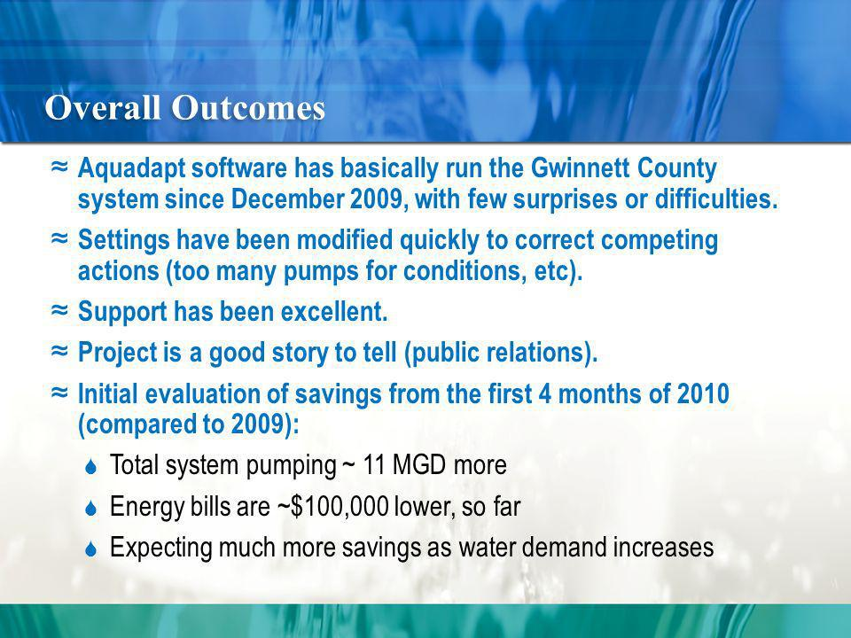 Overall Outcomes Aquadapt software has basically run the Gwinnett County system since December 2009, with few surprises or difficulties.