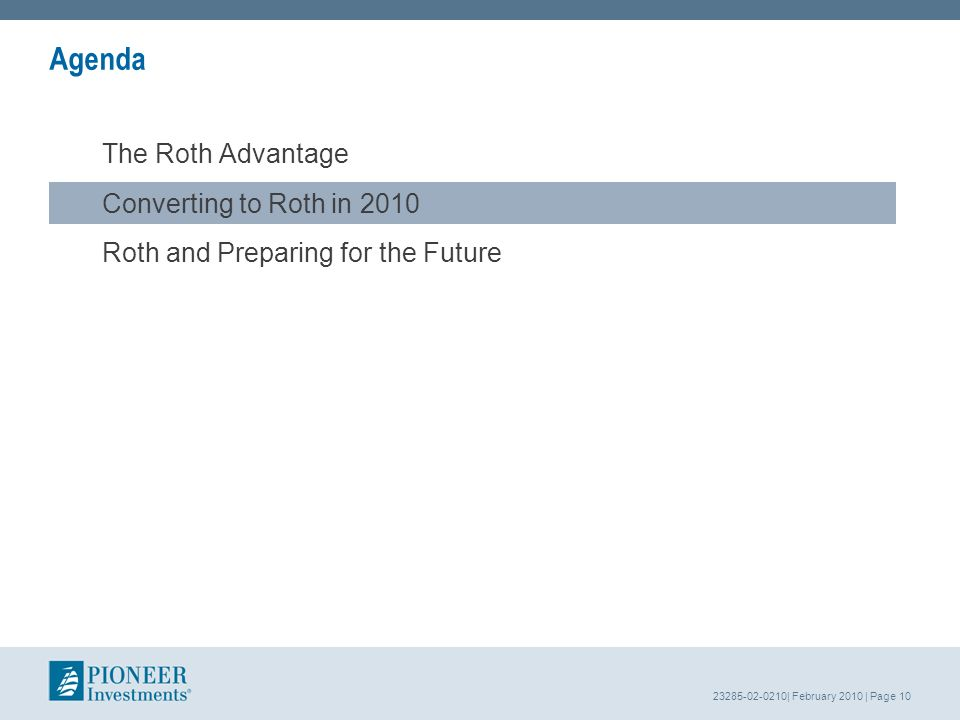 23285-02-0210| February 2010 | Page 10 Agenda The Roth Advantage Converting to Roth in 2010 Roth and Preparing for the Future