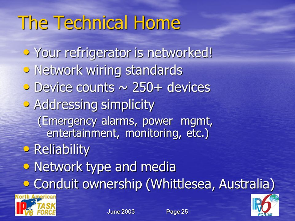 June 2003Page 25 The Technical Home Your refrigerator is networked.