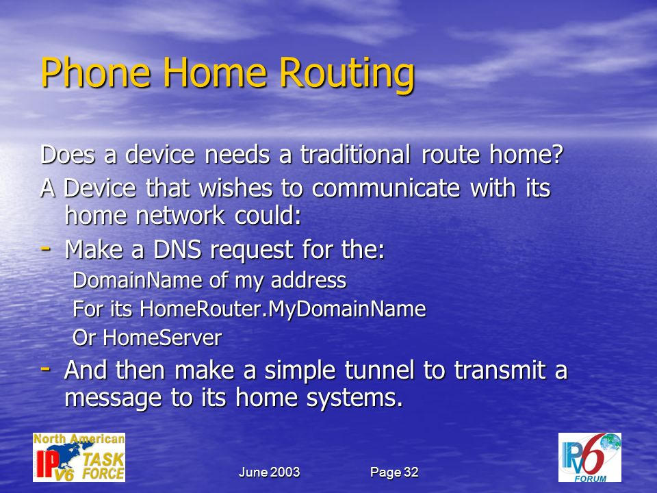 June 2003Page 32 Phone Home Routing Does a device needs a traditional route home.