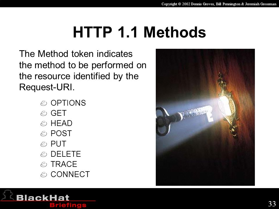 Copyright © 2002 Dennis Groves, Bill Pennington & Jeremiah Grossman 33 The Method token indicates the method to be performed on the resource identified by the Request-URI.