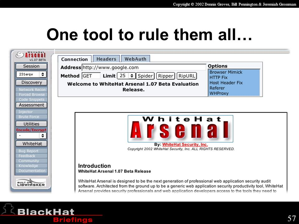 Copyright © 2002 Dennis Groves, Bill Pennington & Jeremiah Grossman 57 One tool to rule them all…