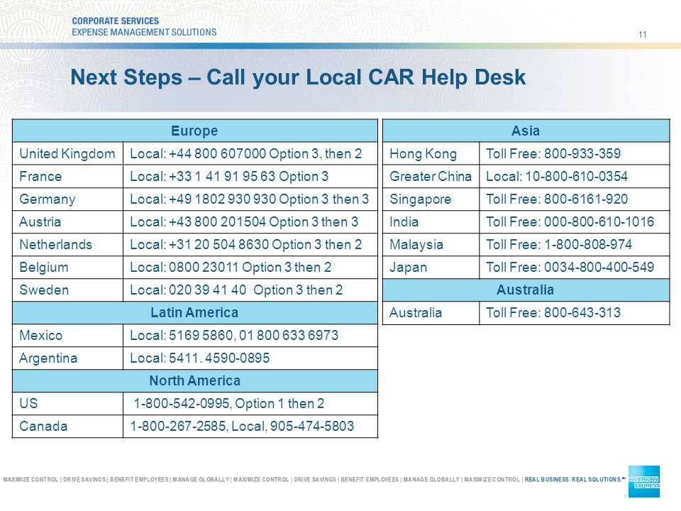 11 Next Steps – Call your Local CAR Help Desk Europe United KingdomLocal: Option 3, then 2 FranceLocal: Option 3 GermanyLocal: Option 3 then 3 AustriaLocal: Option 3 then 3 NetherlandsLocal: Option 3 then 2 BelgiumLocal: Option 3 then 2 SwedenLocal: Option 3 then 2 Latin America MexicoLocal: , ArgentinaLocal: 5411.