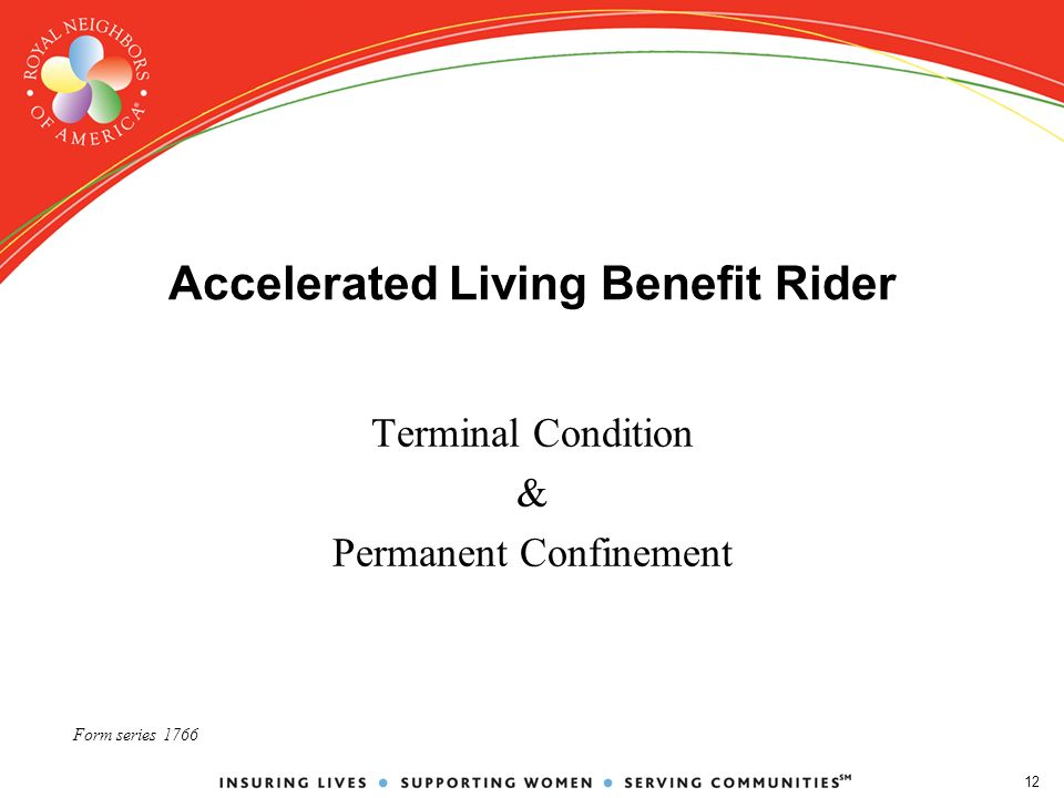 12 Accelerated Living Benefit Rider Terminal Condition & Permanent Confinement Form series 1766