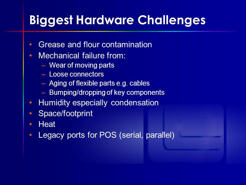 Biggest Hardware Challenges Grease and flour contamination Mechanical failure from: –Wear of moving parts –Loose connectors –Aging of flexible parts e.g.