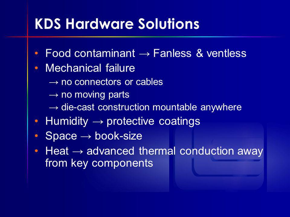 KDS Hardware Solutions Food contaminant Fanless & ventless Mechanical failure no connectors or cables no moving parts die-cast construction mountable anywhere Humidity protective coatings Space book-size Heat advanced thermal conduction away from key components