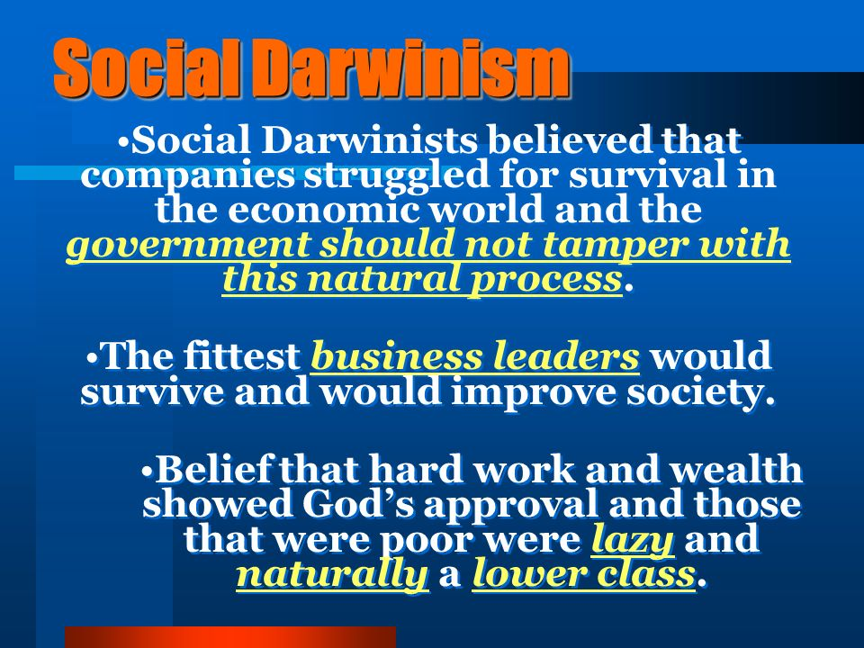 Social Darwinism Belief that in the economic world the strongest companies will survive The growth of a large business is merely a survival of the fittest.