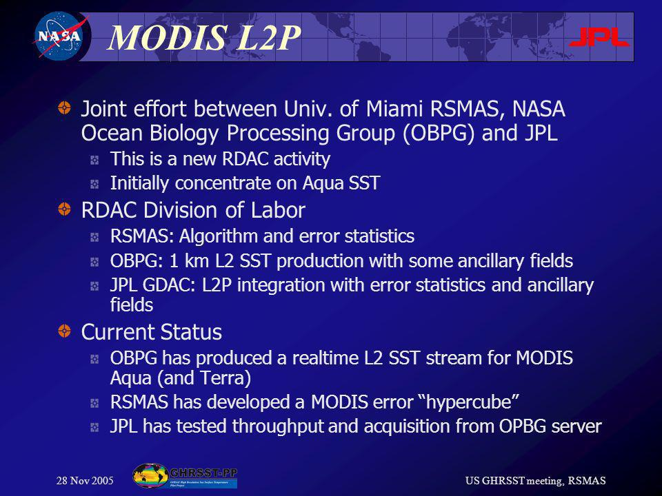 28 Nov 2005US GHRSST meeting, RSMAS MODIS L2P Joint effort between Univ.