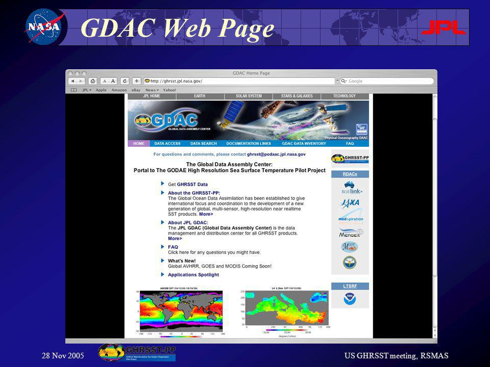 28 Nov 2005US GHRSST meeting, RSMAS GDAC Web Page