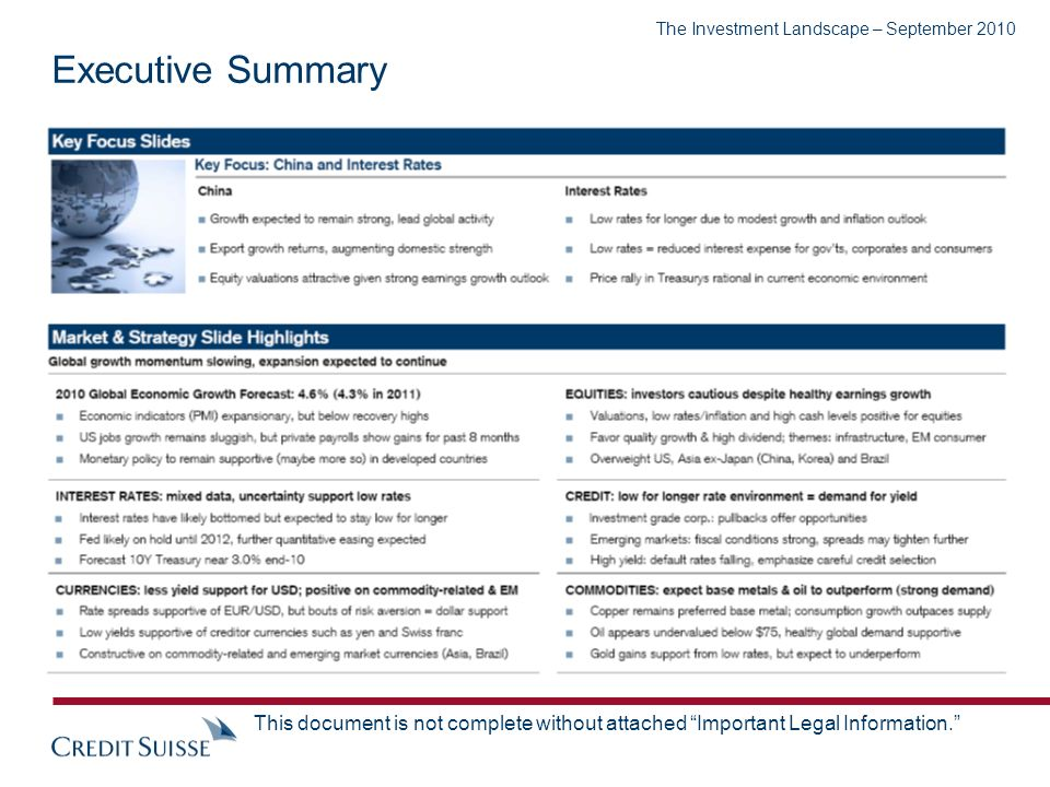 The Investment Landscape – September 2010 This document is not complete without attached Important Legal Information.