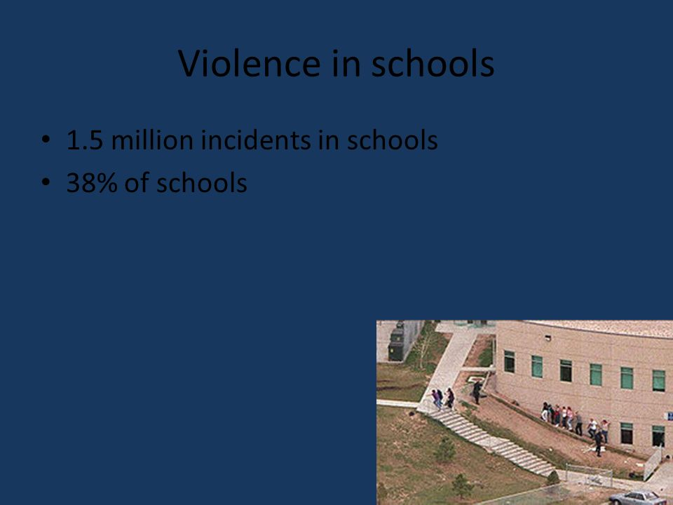 Violence in schools 1.5 million incidents in schools 38% of schools