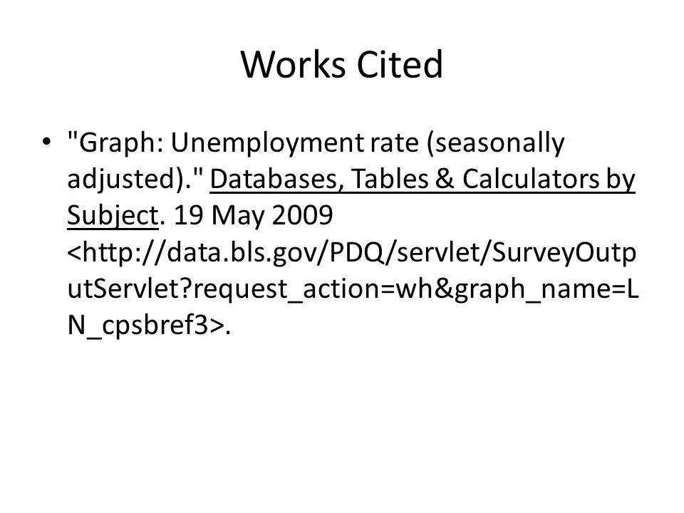 Works Cited Graph: Unemployment rate (seasonally adjusted). Databases, Tables & Calculators by Subject.