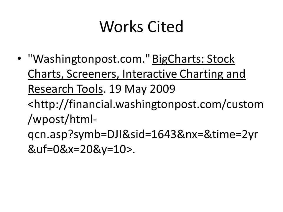 Works Cited Washingtonpost.com. BigCharts: Stock Charts, Screeners, Interactive Charting and Research Tools.