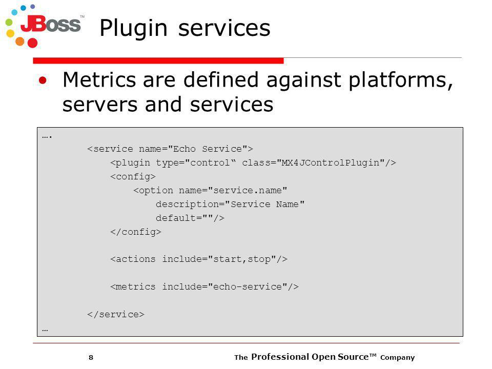 8 The Professional Open Source Company Plugin services Metrics are defined against platforms, servers and services ….
