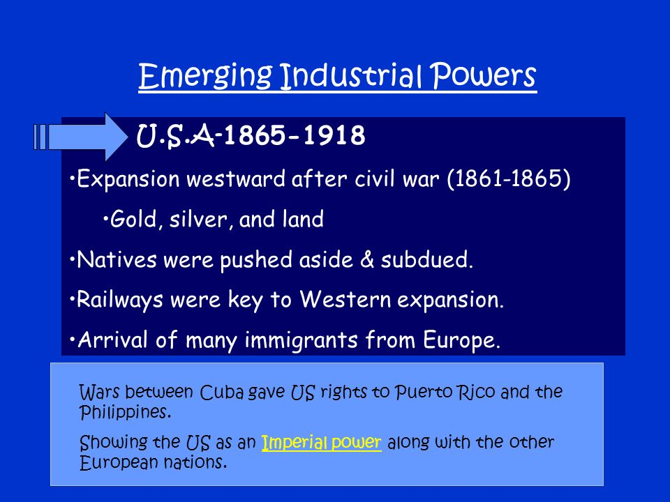 U.S.A Expansion westward after civil war ( ) Gold, silver, and land Natives were pushed aside & subdued.