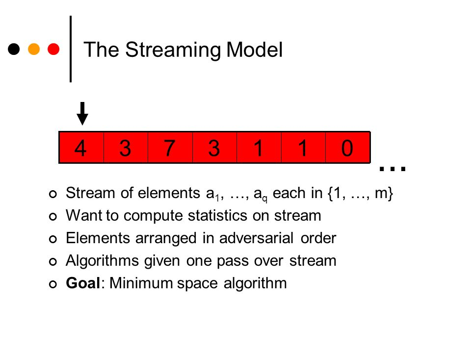 The Streaming Model 0113734 … Stream of elements a 1, …, a q each in {1, …, m} Want to compute statistics on stream Elements arranged in adversarial order Algorithms given one pass over stream Goal: Minimum space algorithm
