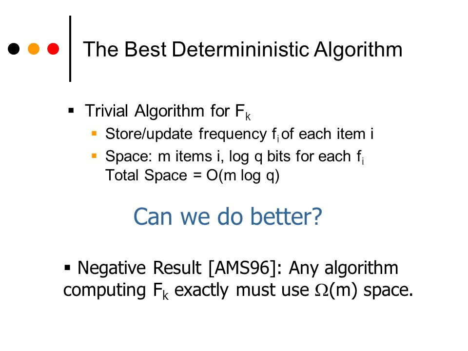 The Best Determininistic Algorithm Trivial Algorithm for F k Store/update frequency f i of each item i Space: m items i, log q bits for each f i Total Space = O(m log q) Negative Result [AMS96]: Any algorithm computing F k exactly must use (m) space.