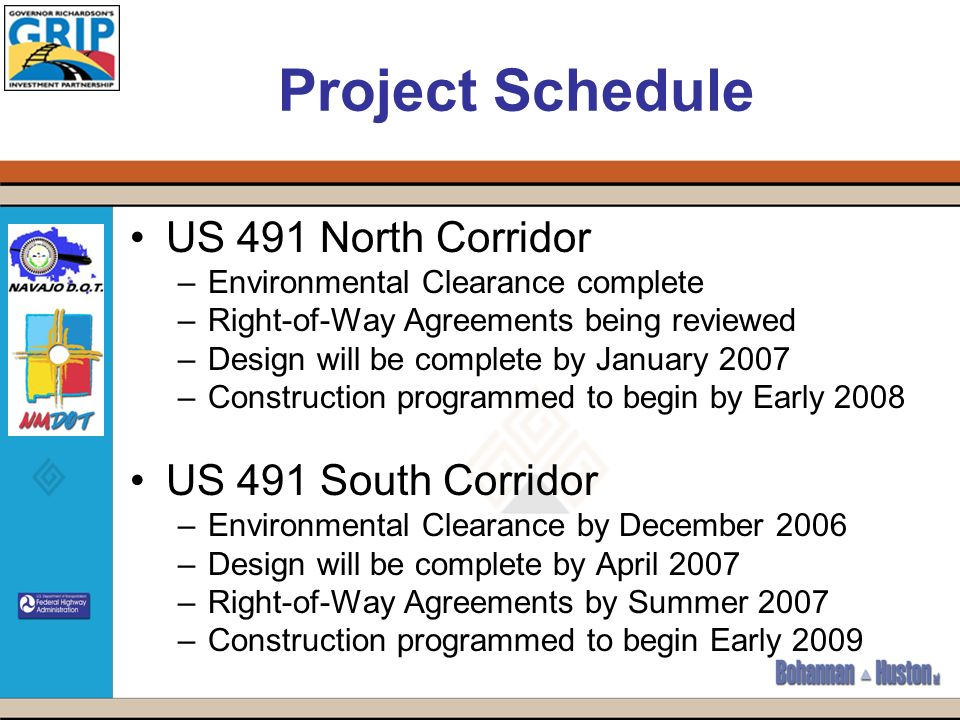 Project Schedule US 491 North Corridor –Environmental Clearance complete –Right-of-Way Agreements being reviewed –Design will be complete by January 2007 –Construction programmed to begin by Early 2008 US 491 South Corridor –Environmental Clearance by December 2006 –Design will be complete by April 2007 –Right-of-Way Agreements by Summer 2007 –Construction programmed to begin Early 2009