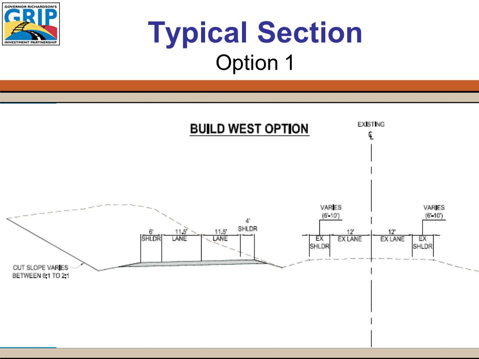 Typical Section Option 1