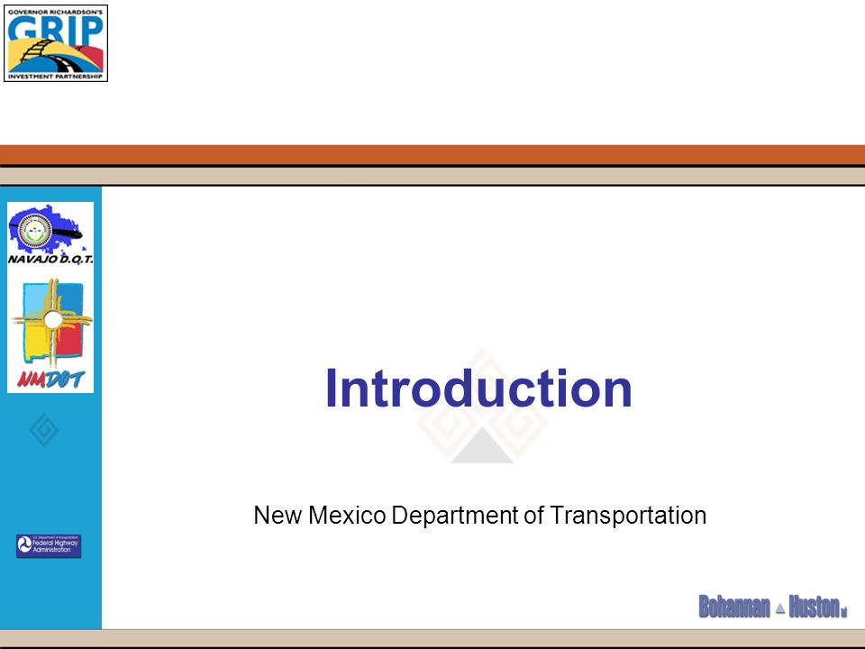 Introduction New Mexico Department of Transportation