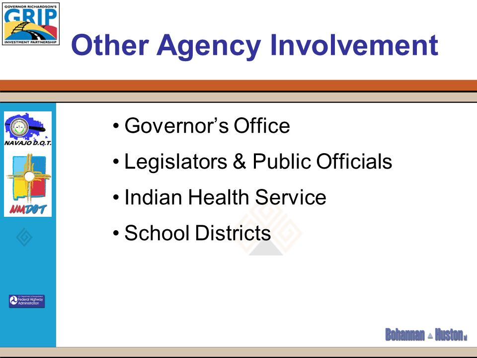 Other Agency Involvement Governors Office Legislators & Public Officials Indian Health Service School Districts