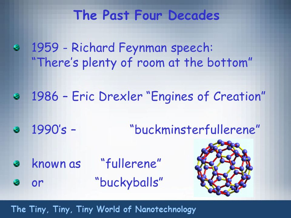 The Past Four Decades 1959 - Richard Feynman speech: Theres plenty of room at the bottom 1986 – Eric Drexler Engines of Creation 1990s – buckminsterfullerene known as fullerene or buckyballs The Tiny, Tiny, Tiny World of Nanotechnology