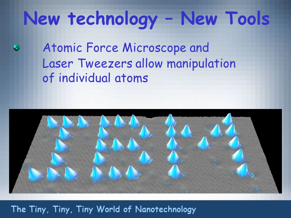 New technology – New Tools Atomic Force Microscope and Laser Tweezers allow manipulation of individual atoms The Tiny, Tiny, Tiny World of Nanotechnology