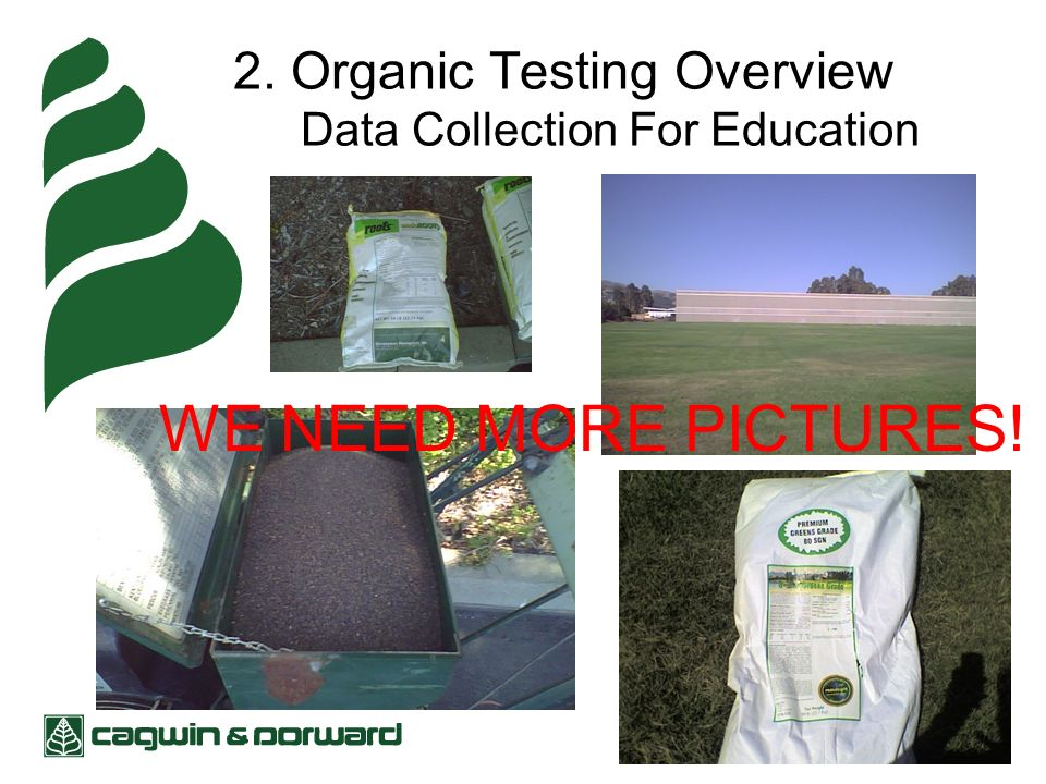 2. Organic Testing Overview Data Collection For Education WE NEED MORE PICTURES!