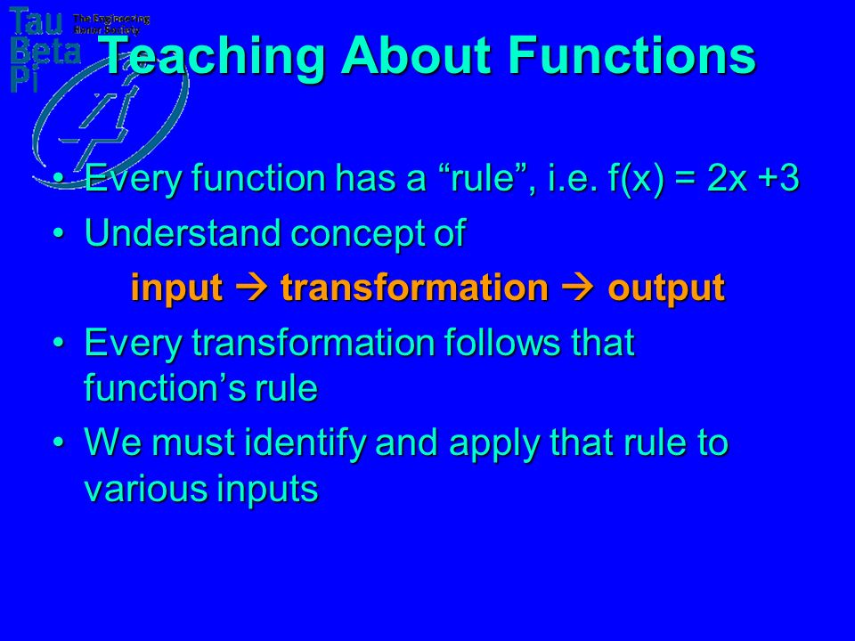 Teaching About Functions Every function has a rule, i.e.
