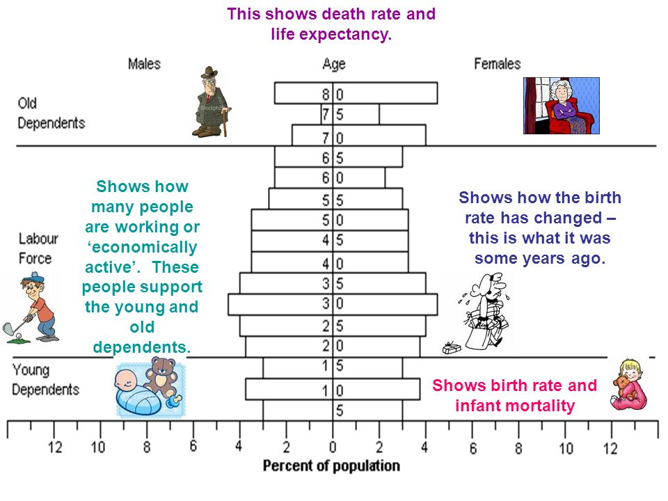 Shows birth rate and infant mortality Shows how the birth rate has changed – this is what it was some years ago.