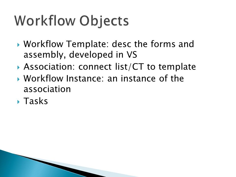 Workflow Template: desc the forms and assembly, developed in VS Association: connect list/CT to template Workflow Instance: an instance of the association Tasks