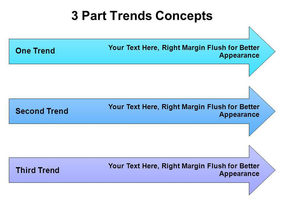 3 Part Trends Concepts Your Text Here, Right Margin Flush for Better Appearance Your Text Here, Right Margin Flush for Better Appearance Your Text Here, Right Margin Flush for Better Appearance One Trend Second Trend Third Trend
