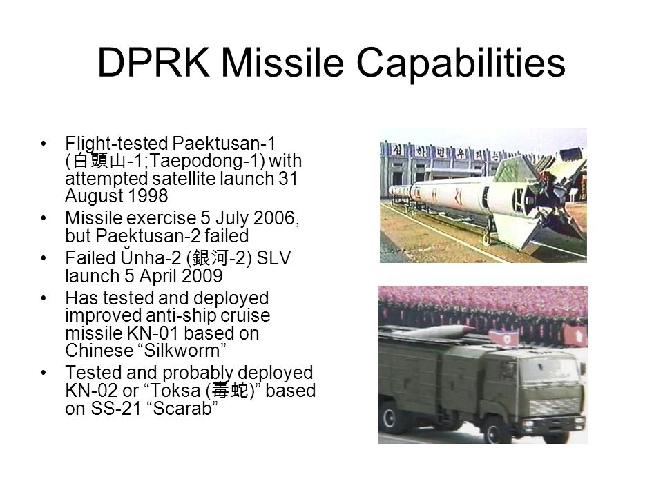 DPRK Missile Capabilities DPRK began to produce multiple rocket launchers in the 1960s Acquired surface-to-ship missiles and FROG rockets in late 1960s Produced Scud-B ( -5; Hwasŏng-5) by mid 1980s Developed Scud-C ( -6; Hwasŏng-6) by late 1980s Tested Nodong ( ) in 1993 Exported Scuds and Nodong to several countries