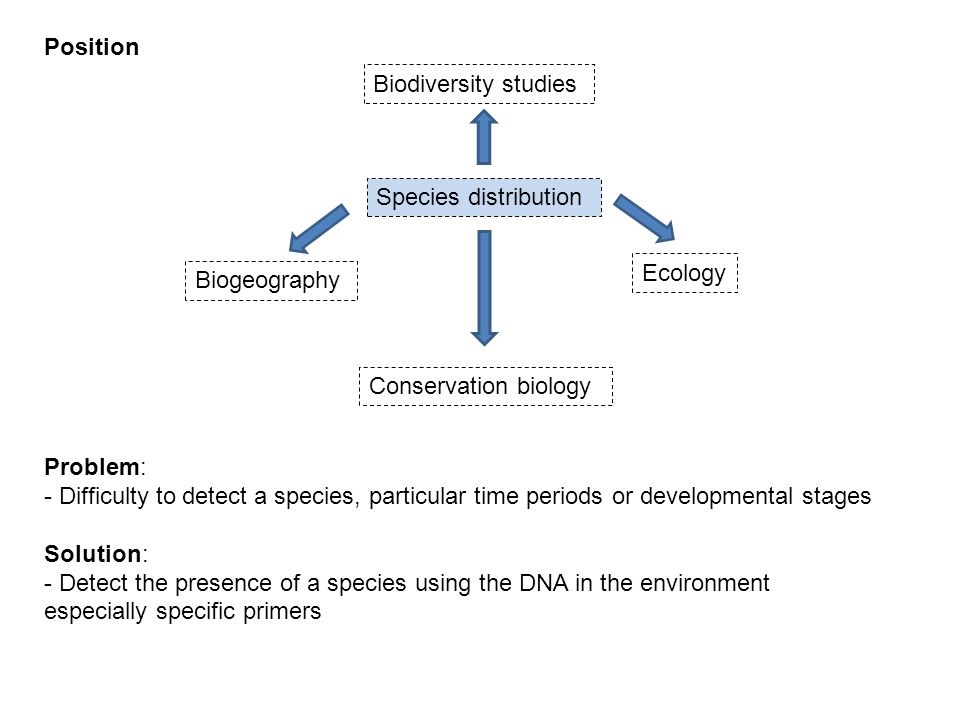 Biodiversity studies Species distribution Biogeography Conservation biology Ecology Problem: - Difficulty to detect a species, particular time periods or developmental stages Solution: - Detect the presence of a species using the DNA in the environment especially specific primers Position