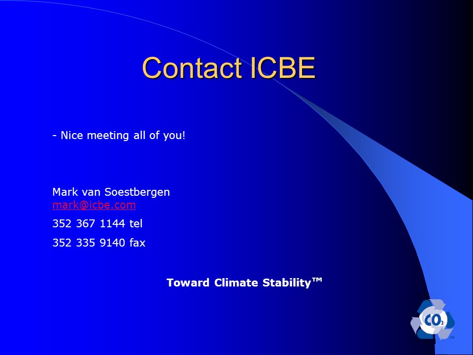 Contact ICBE - Nice meeting all of you.