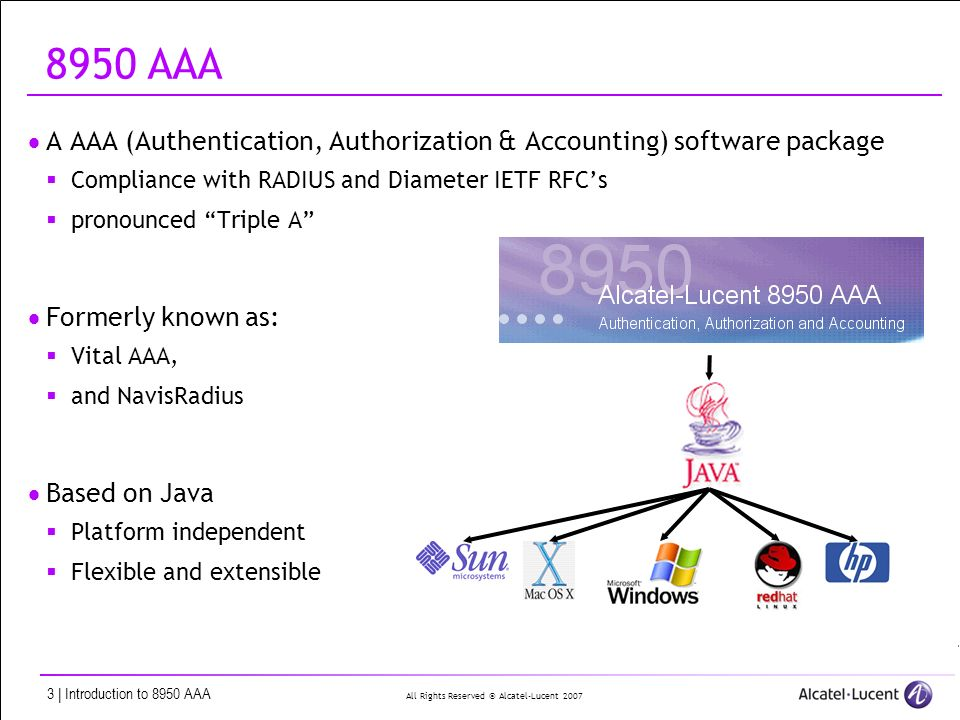 8950 AAA Overview  All Rights Reserved © Alcatel-Lucent