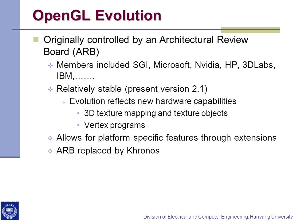 Division of Electrical and Computer Engineering, Hanyang University OpenGL Evolution Originally controlled by an Architectural Review Board (ARB) Members included SGI, Microsoft, Nvidia, HP, 3DLabs, IBM,…….