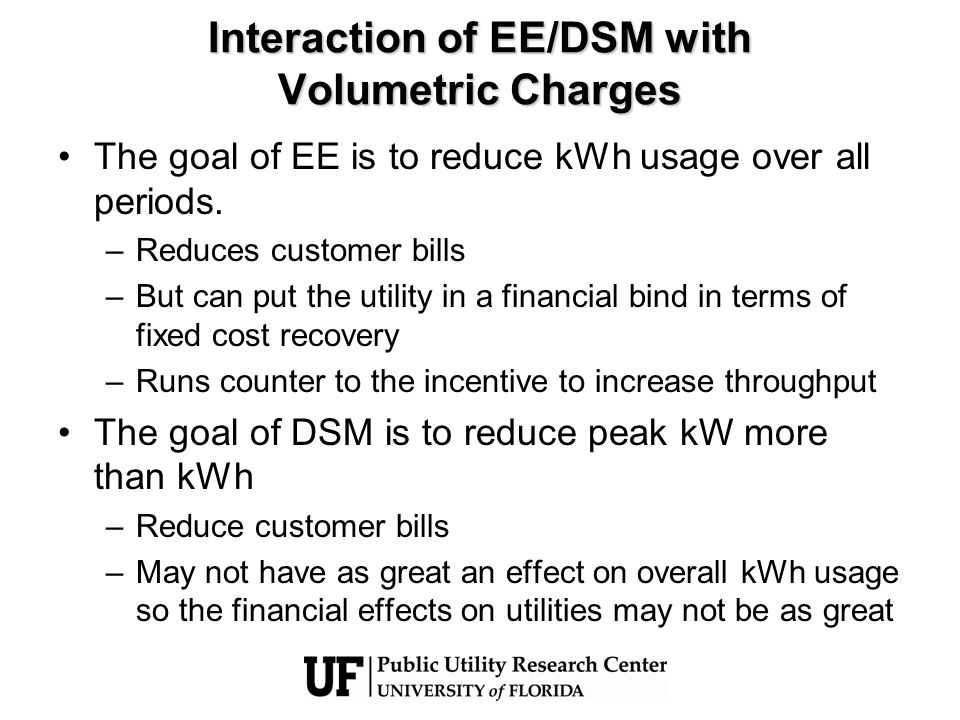 Interaction of EE/DSM with Volumetric Charges The goal of EE is to reduce kWh usage over all periods.