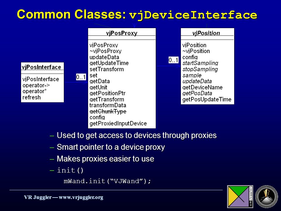 VR Juggler   Common Classes: vjDeviceInterface –Used to get access to devices through proxies –Smart pointer to a device proxy –Makes proxies easier to use – init() mWand.init(VJWand);