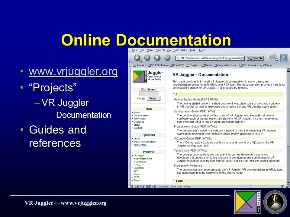 VR Juggler   Online Documentation   ProjectsProjects –VR Juggler – Documentation Guides and referencesGuides and references