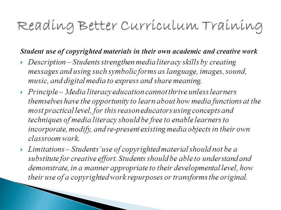 Sharing media literacy curriculum materials Description – Media literacy curriculum materials always include copyrighted content from mass media and popular culture.