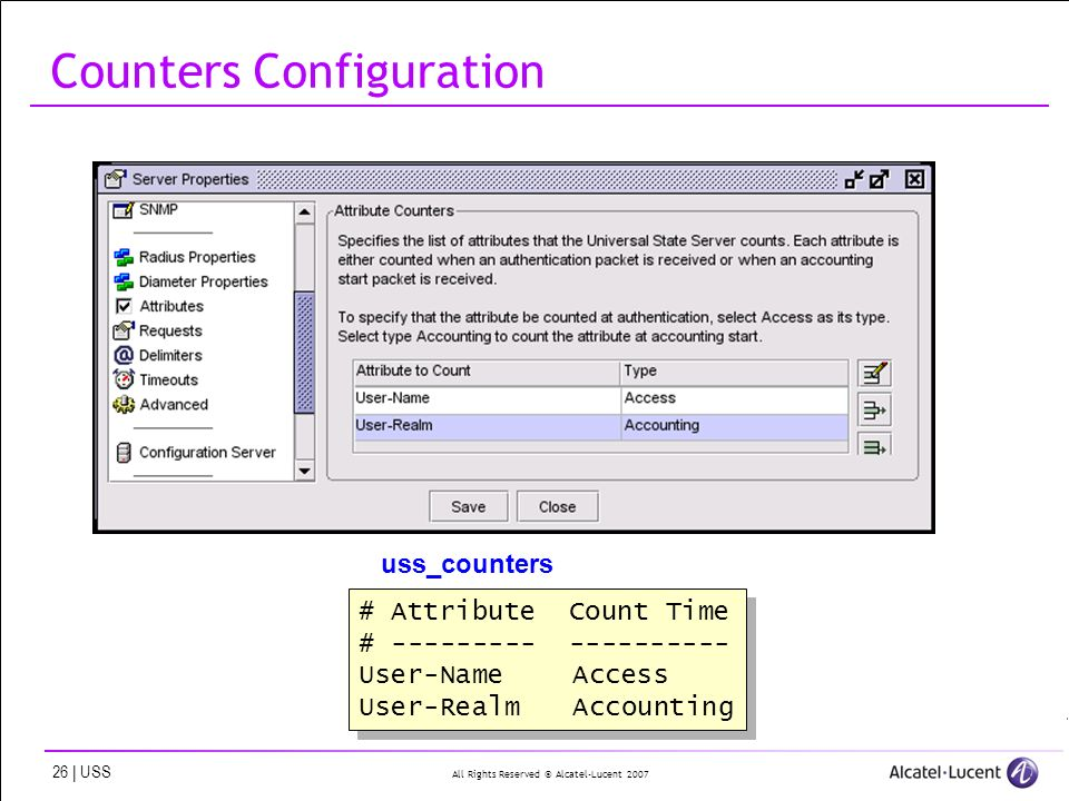 All Rights Reserved © Alcatel-Lucent | USS Counters Configuration # Attribute Count Time # User-NameAccess User-RealmAccounting # Attribute Count Time # User-NameAccess User-RealmAccounting uss_counters