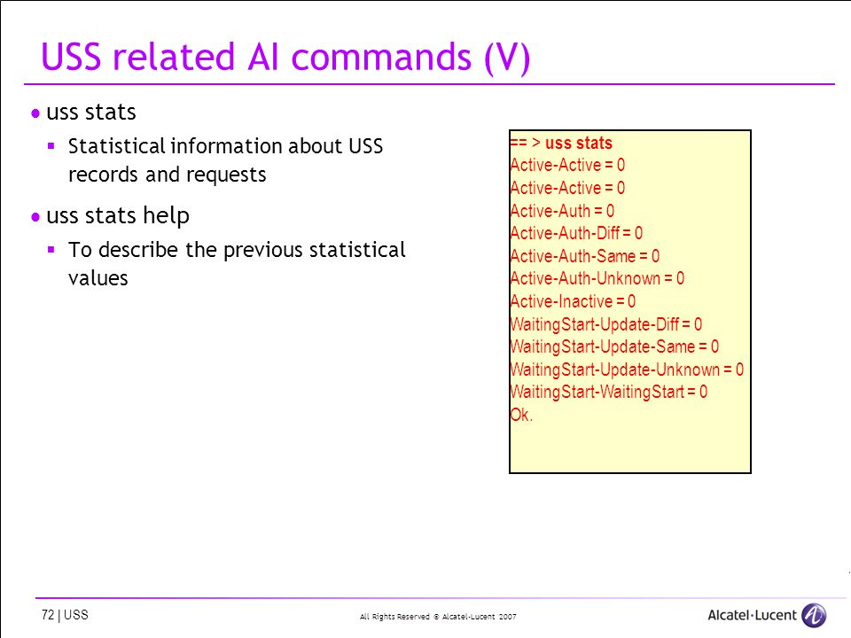 All Rights Reserved © Alcatel-Lucent | USS USS related AI commands (V) uss stats Statistical information about USS records and requests uss stats help To describe the previous statistical values == > uss stats Active-Active = 0 Active-Auth = 0 Active-Auth-Diff = 0 Active-Auth-Same = 0 Active-Auth-Unknown = 0 Active-Inactive = 0 WaitingStart-Update-Diff = 0 WaitingStart-Update-Same = 0 WaitingStart-Update-Unknown = 0 WaitingStart-WaitingStart = 0 Ok.