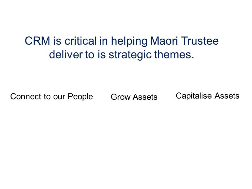 CRM is critical in helping Maori Trustee deliver to is strategic themes.