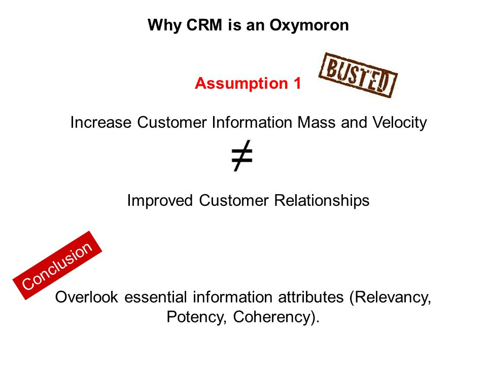 Why CRM is an Oxymoron Assumption 1 Increase Customer Information Mass and Velocity Improved Customer Relationships Overlook essential information attributes (Relevancy, Potency, Coherency).