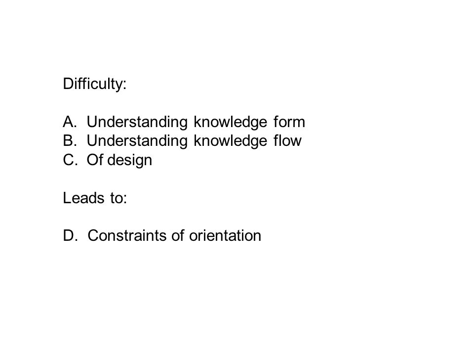 Difficulty: A. Understanding knowledge form B.Understanding knowledge flow C.Of design Leads to: D.