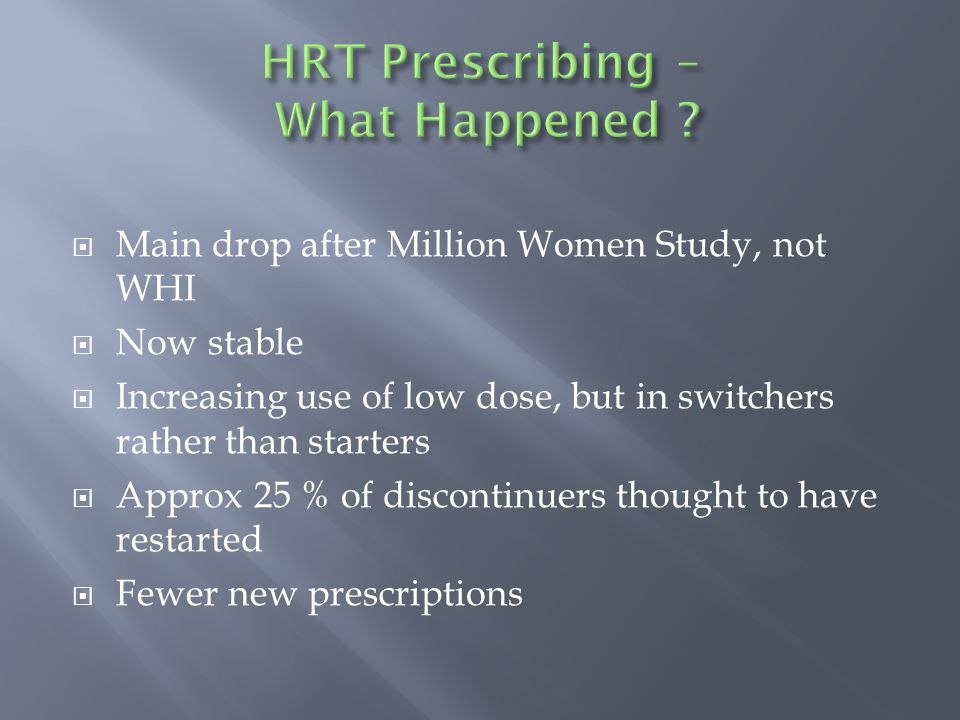 Main drop after Million Women Study, not WHI Now stable Increasing use of low dose, but in switchers rather than starters Approx 25 % of discontinuers thought to have restarted Fewer new prescriptions