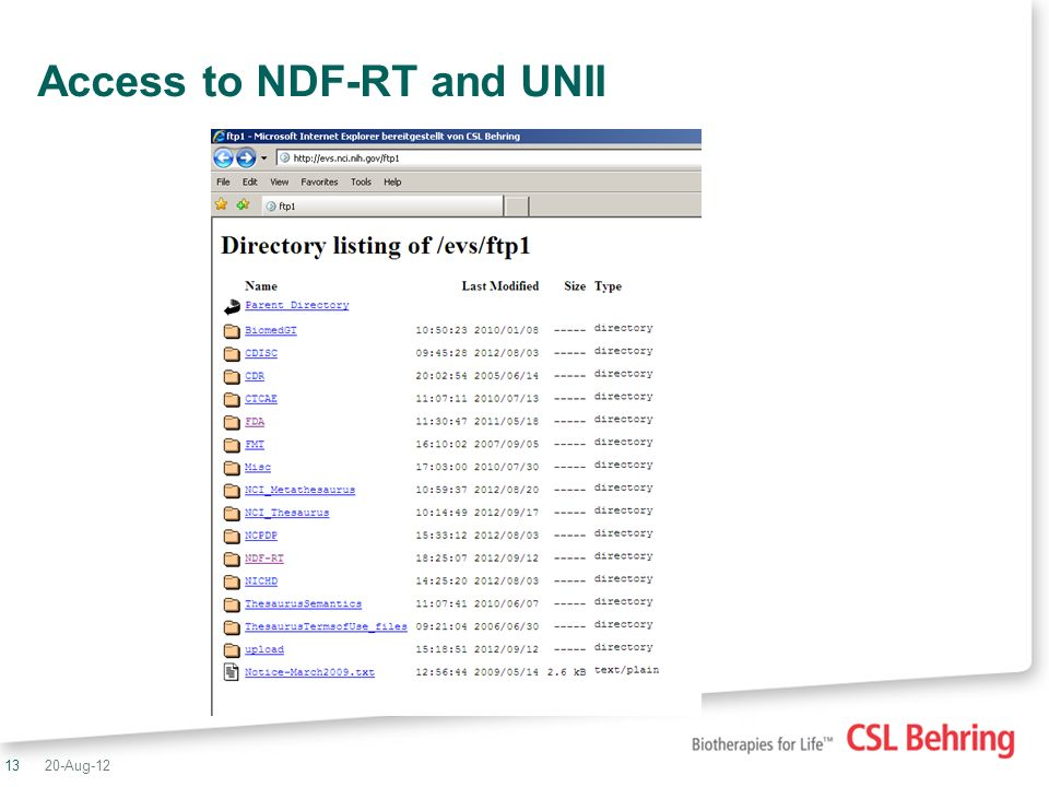 13 Access to NDF-RT and UNII 20-Aug-12