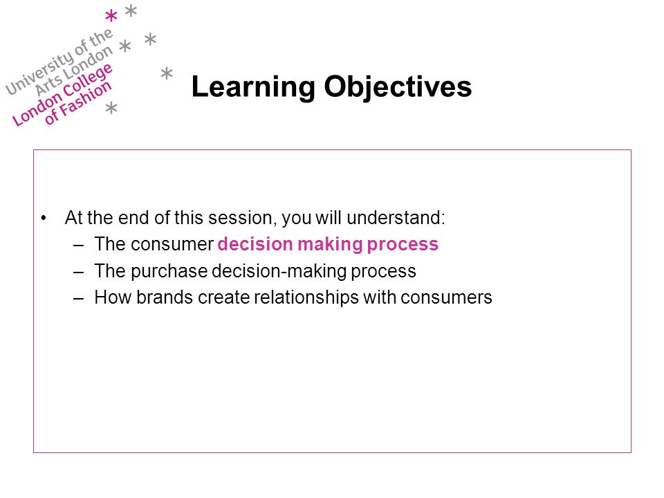 Learning Objectives At the end of this session, you will understand: –The consumer decision making process –The purchase decision-making process –How brands create relationships with consumers